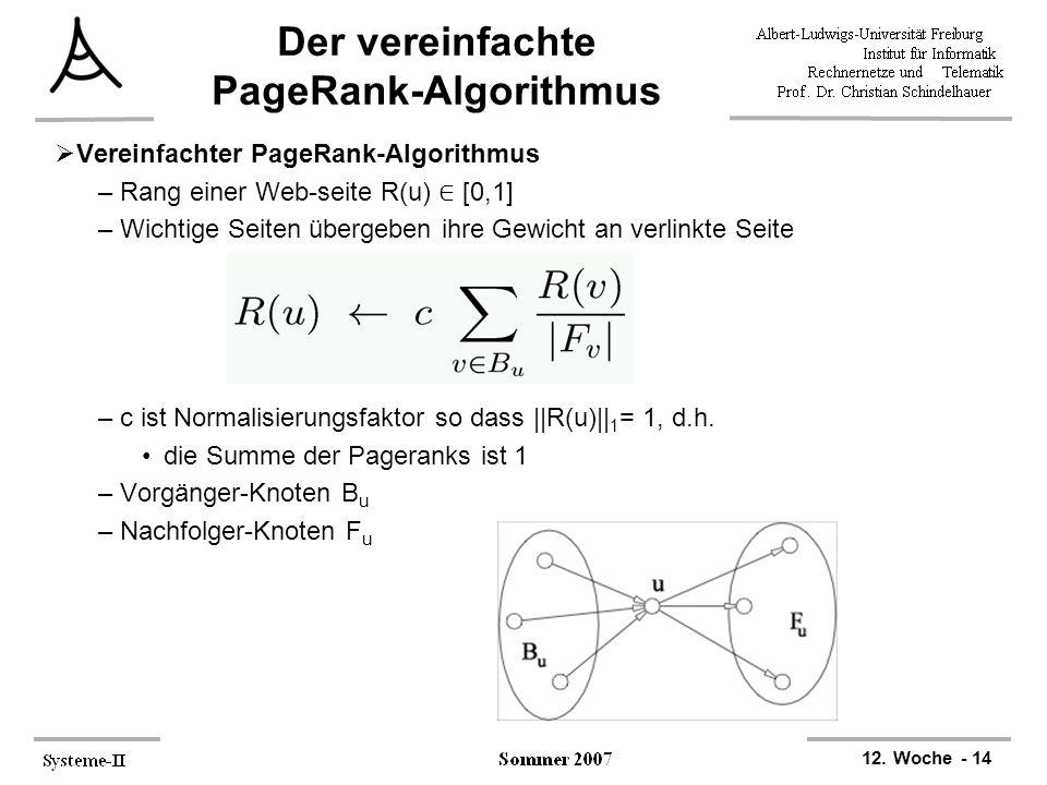 12. Woche - 14 Der vereinfachte PageRank-Algorithmus  Vereinfachter PageRank-Algorithmus –Rang einer Web-seite R(u) ∈ [0,1] –Wichtige Seiten übergebe