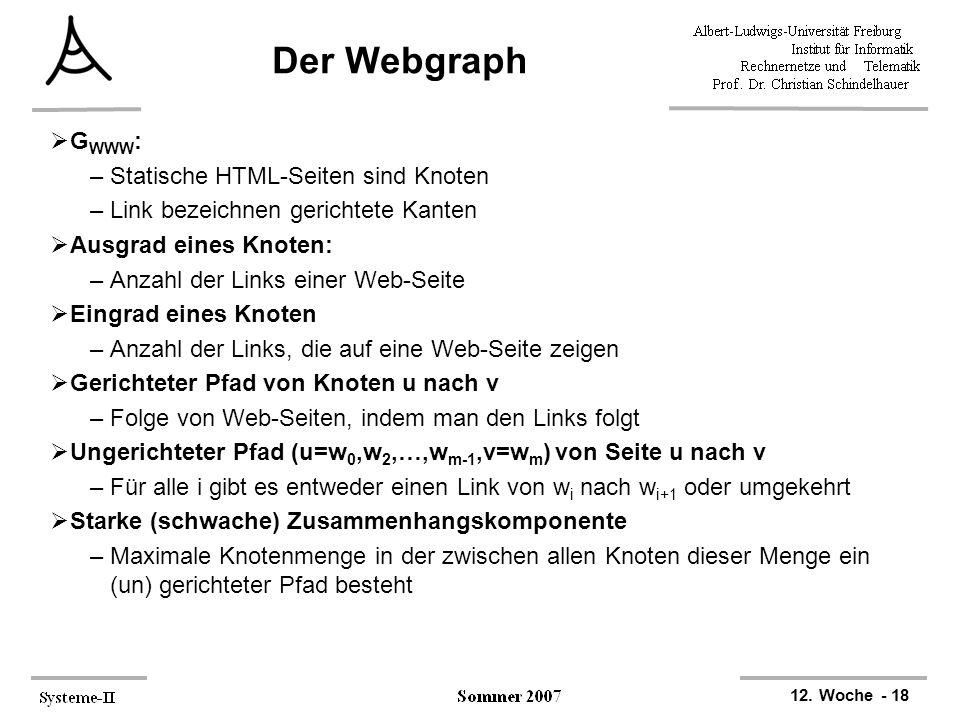12. Woche - 18 Der Webgraph  G WWW : –Statische HTML-Seiten sind Knoten –Link bezeichnen gerichtete Kanten  Ausgrad eines Knoten: –Anzahl der Links