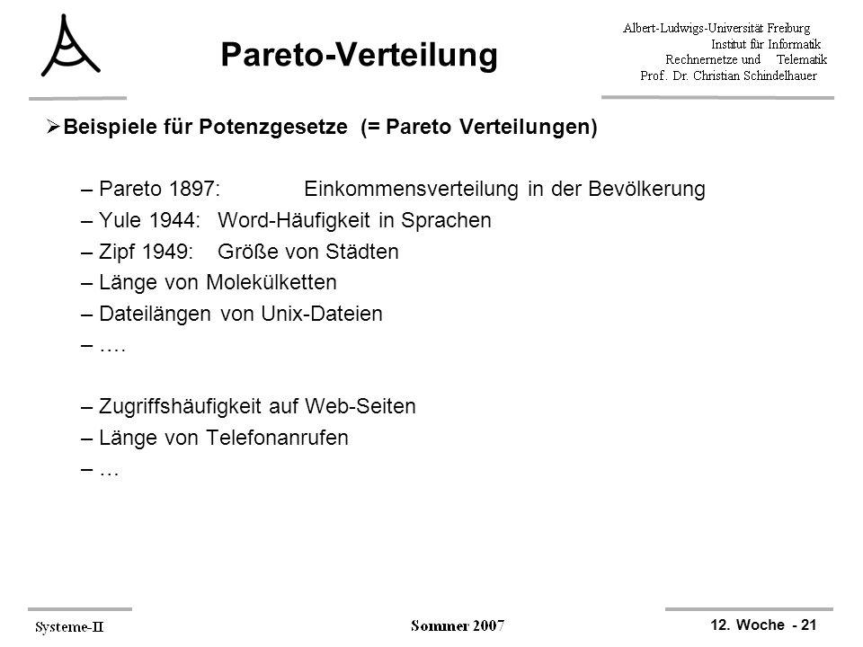 12. Woche - 21 Pareto-Verteilung  Beispiele für Potenzgesetze (= Pareto Verteilungen) –Pareto 1897:Einkommensverteilung in der Bevölkerung –Yule 1944