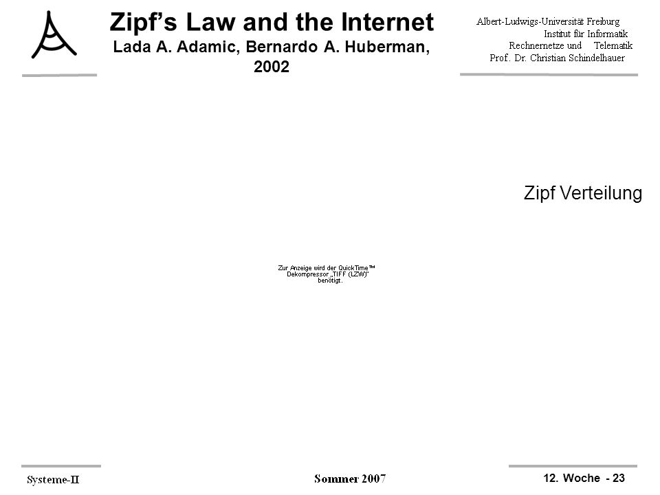 12. Woche - 23 Zipf's Law and the Internet Lada A. Adamic, Bernardo A. Huberman, 2002 Zipf Verteilung