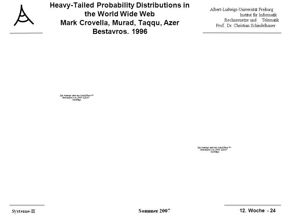 12. Woche - 24 Heavy-Tailed Probability Distributions in the World Wide Web Mark Crovella, Murad, Taqqu, Azer Bestavros, 1996