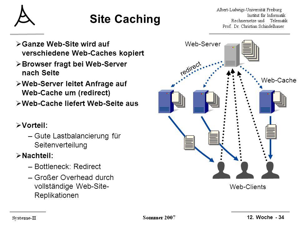 12. Woche - 34 Web-Clients Web-Server Web-Cache redirect Site Caching  Ganze Web-Site wird auf verschiedene Web-Caches kopiert  Browser fragt bei We