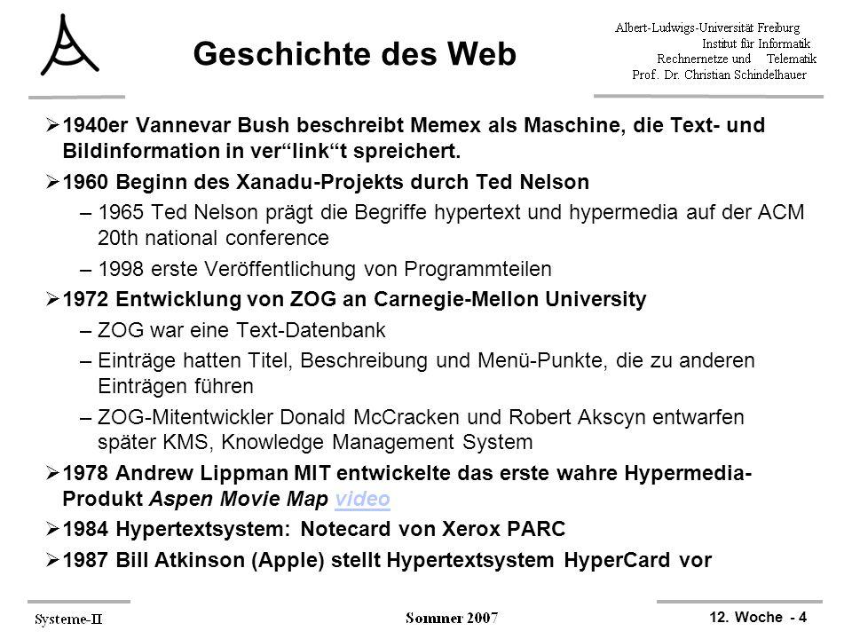 """12. Woche - 4 Geschichte des Web  1940er Vannevar Bush beschreibt Memex als Maschine, die Text- und Bildinformation in ver""""link""""t spreichert.  1960"""