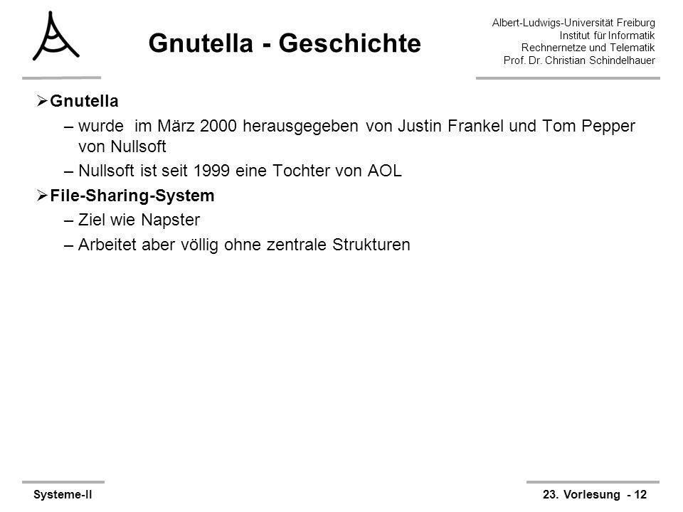 Albert-Ludwigs-Universität Freiburg Institut für Informatik Rechnernetze und Telematik Prof. Dr. Christian Schindelhauer Systeme-II23. Vorlesung - 12