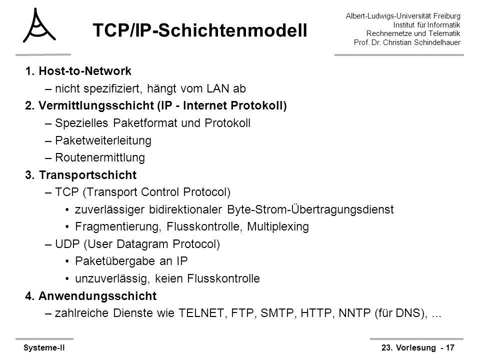Albert-Ludwigs-Universität Freiburg Institut für Informatik Rechnernetze und Telematik Prof. Dr. Christian Schindelhauer Systeme-II23. Vorlesung - 17