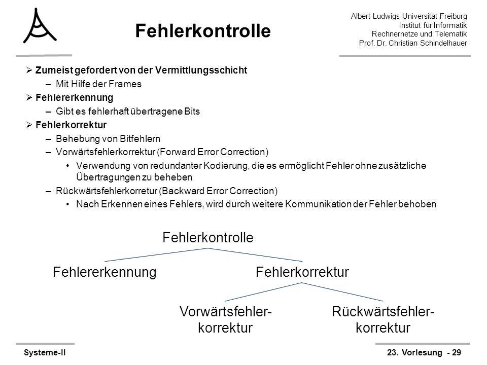 Albert-Ludwigs-Universität Freiburg Institut für Informatik Rechnernetze und Telematik Prof. Dr. Christian Schindelhauer Systeme-II23. Vorlesung - 29