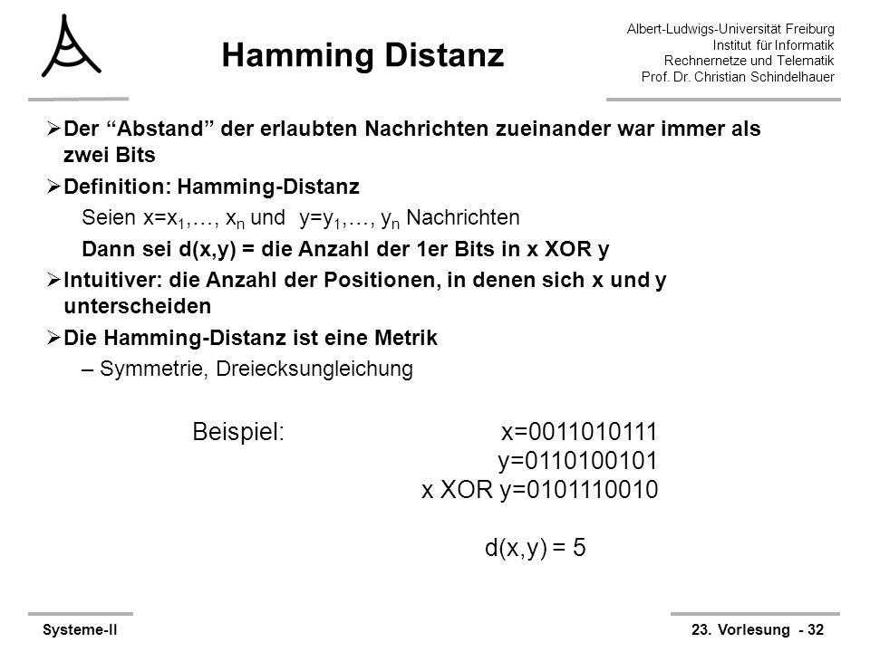 Albert-Ludwigs-Universität Freiburg Institut für Informatik Rechnernetze und Telematik Prof. Dr. Christian Schindelhauer Systeme-II23. Vorlesung - 32