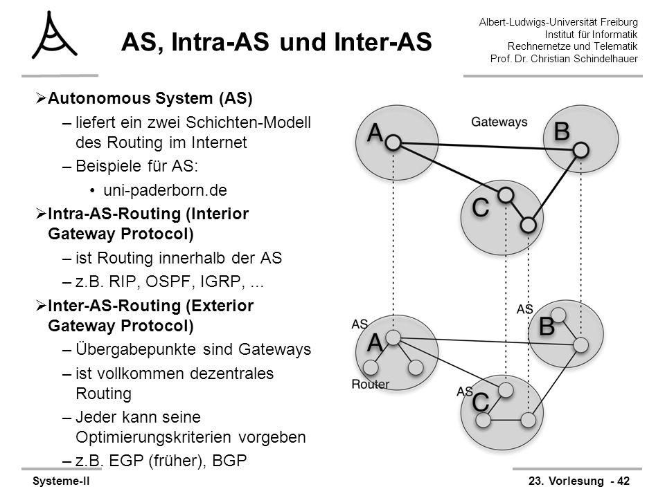 Albert-Ludwigs-Universität Freiburg Institut für Informatik Rechnernetze und Telematik Prof. Dr. Christian Schindelhauer Systeme-II23. Vorlesung - 42