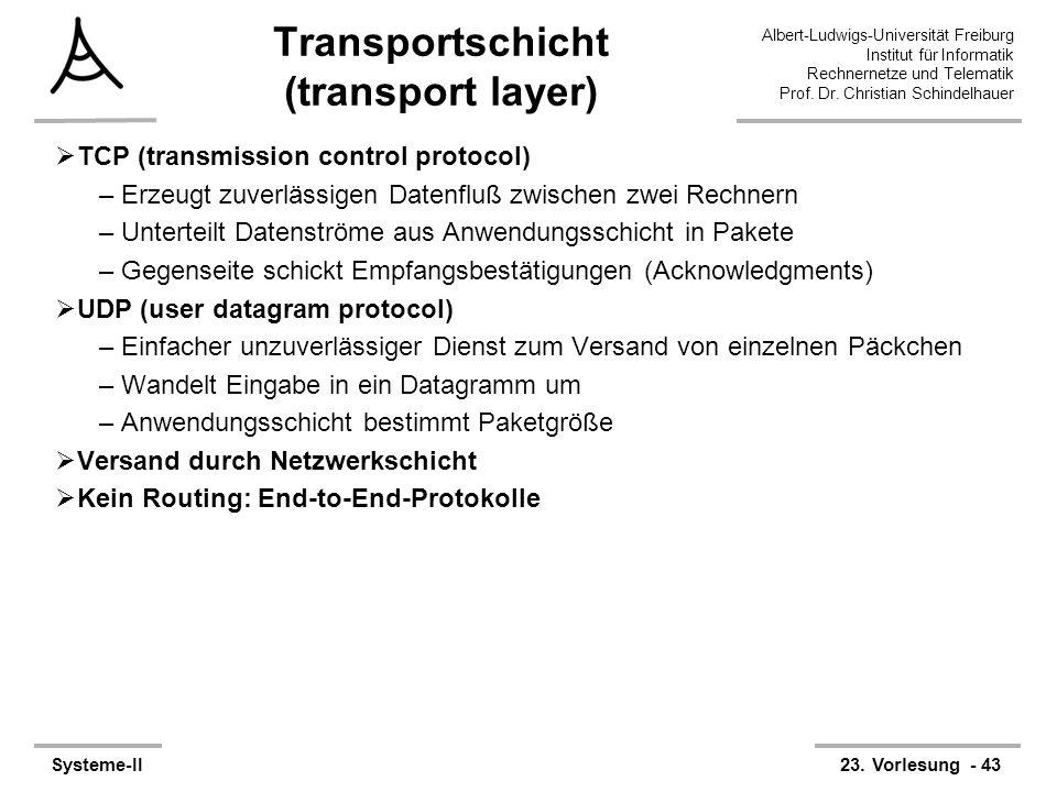 Albert-Ludwigs-Universität Freiburg Institut für Informatik Rechnernetze und Telematik Prof. Dr. Christian Schindelhauer Systeme-II23. Vorlesung - 43