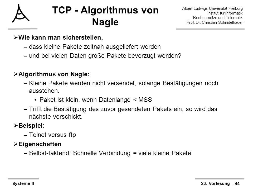 Albert-Ludwigs-Universität Freiburg Institut für Informatik Rechnernetze und Telematik Prof. Dr. Christian Schindelhauer Systeme-II23. Vorlesung - 44