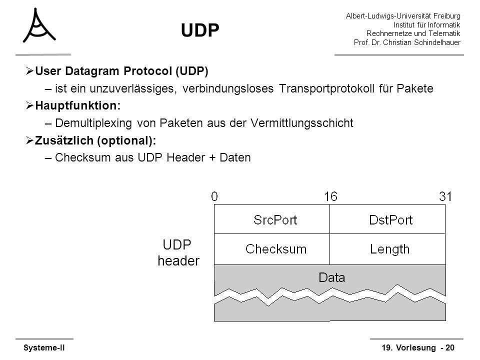 Albert-Ludwigs-Universität Freiburg Institut für Informatik Rechnernetze und Telematik Prof. Dr. Christian Schindelhauer Systeme-II19. Vorlesung - 20