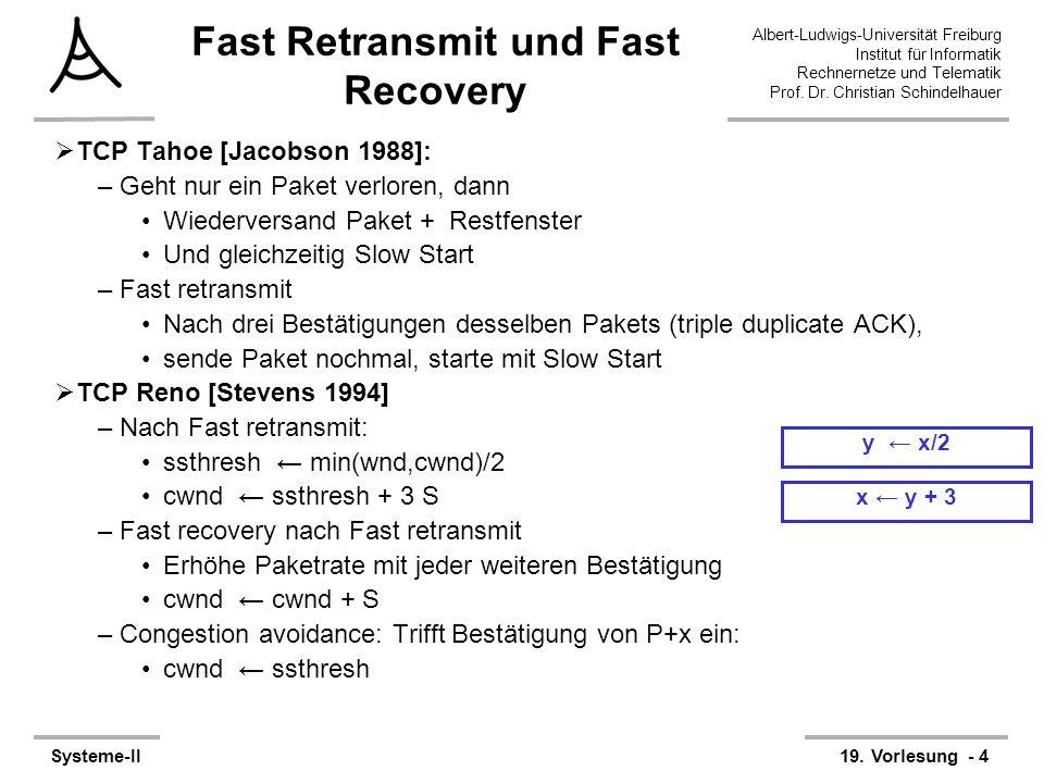 Albert-Ludwigs-Universität Freiburg Institut für Informatik Rechnernetze und Telematik Prof. Dr. Christian Schindelhauer Systeme-II19. Vorlesung - 4 x