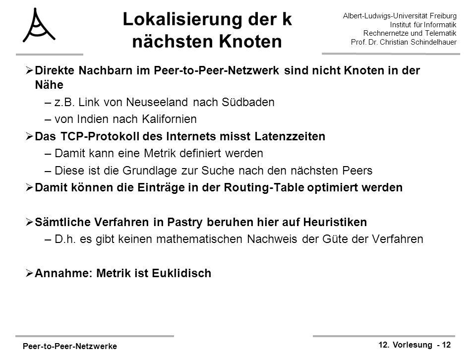 Peer-to-Peer-Netzwerke 12. Vorlesung - 12 Albert-Ludwigs-Universität Freiburg Institut für Informatik Rechnernetze und Telematik Prof. Dr. Christian S