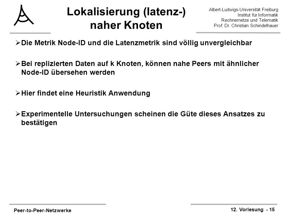 Peer-to-Peer-Netzwerke 12. Vorlesung - 15 Albert-Ludwigs-Universität Freiburg Institut für Informatik Rechnernetze und Telematik Prof. Dr. Christian S