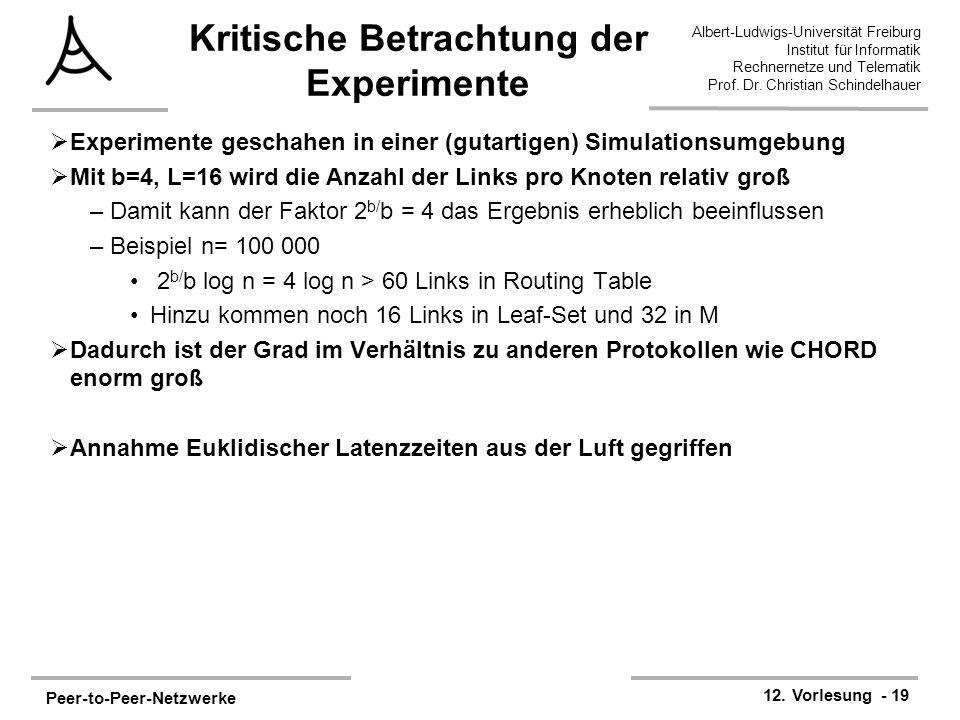 Peer-to-Peer-Netzwerke 12. Vorlesung - 19 Albert-Ludwigs-Universität Freiburg Institut für Informatik Rechnernetze und Telematik Prof. Dr. Christian S