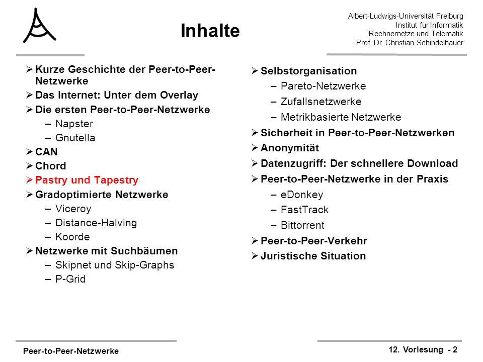 Peer-to-Peer-Netzwerke 12. Vorlesung - 2 Albert-Ludwigs-Universität Freiburg Institut für Informatik Rechnernetze und Telematik Prof. Dr. Christian Sc