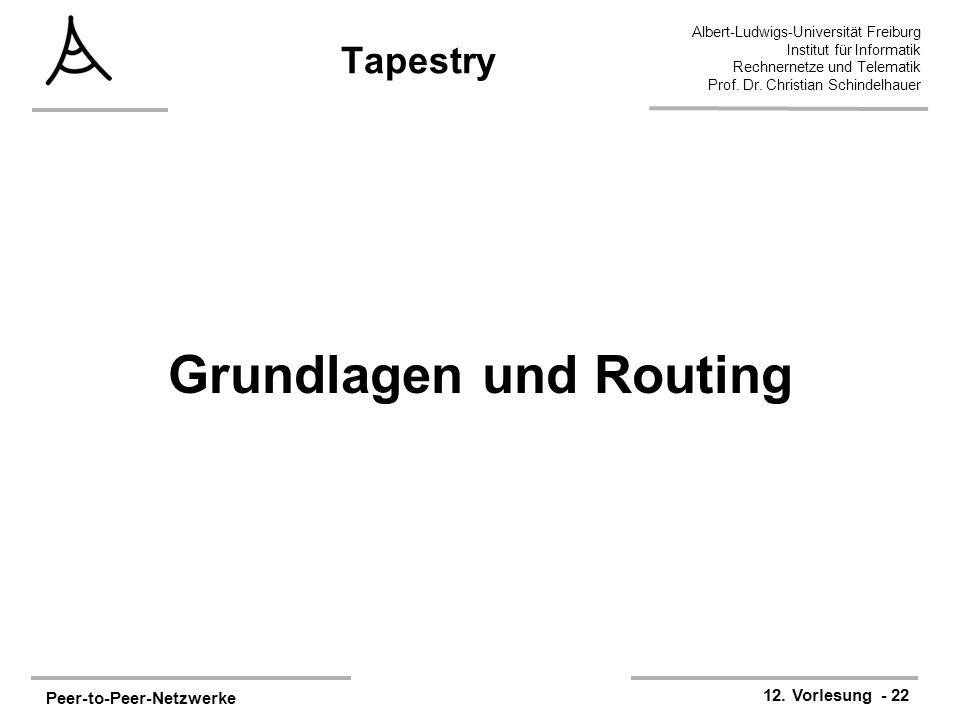 Peer-to-Peer-Netzwerke 12. Vorlesung - 22 Albert-Ludwigs-Universität Freiburg Institut für Informatik Rechnernetze und Telematik Prof. Dr. Christian S