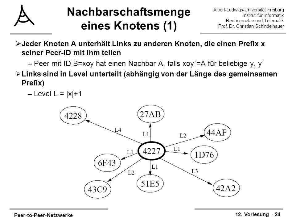 Peer-to-Peer-Netzwerke 12. Vorlesung - 24 Albert-Ludwigs-Universität Freiburg Institut für Informatik Rechnernetze und Telematik Prof. Dr. Christian S
