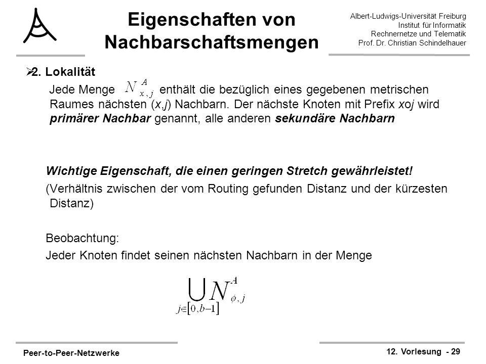 Peer-to-Peer-Netzwerke 12. Vorlesung - 29 Albert-Ludwigs-Universität Freiburg Institut für Informatik Rechnernetze und Telematik Prof. Dr. Christian S
