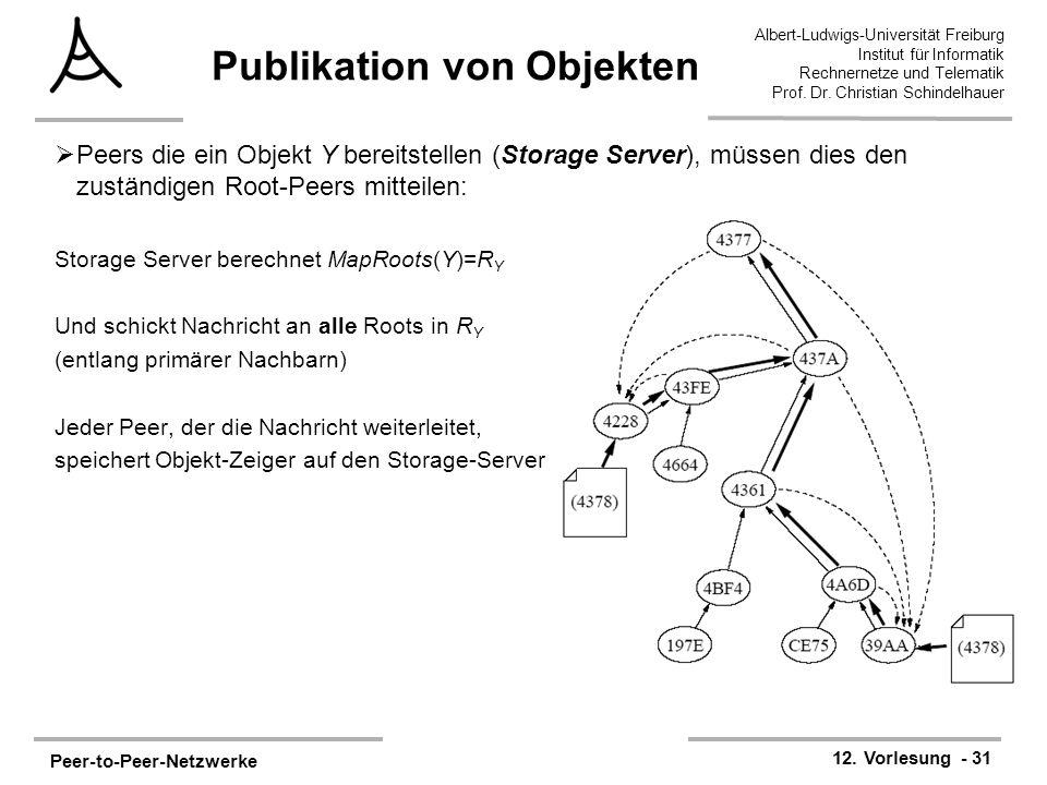 Peer-to-Peer-Netzwerke 12. Vorlesung - 31 Albert-Ludwigs-Universität Freiburg Institut für Informatik Rechnernetze und Telematik Prof. Dr. Christian S
