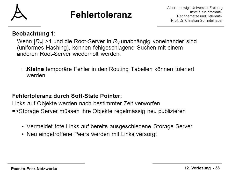 Peer-to-Peer-Netzwerke 12. Vorlesung - 33 Albert-Ludwigs-Universität Freiburg Institut für Informatik Rechnernetze und Telematik Prof. Dr. Christian S