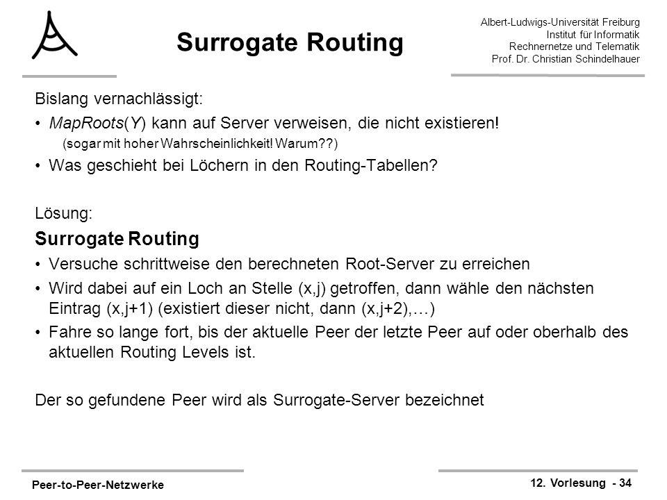 Peer-to-Peer-Netzwerke 12. Vorlesung - 34 Albert-Ludwigs-Universität Freiburg Institut für Informatik Rechnernetze und Telematik Prof. Dr. Christian S