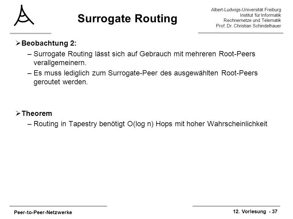 Peer-to-Peer-Netzwerke 12. Vorlesung - 37 Albert-Ludwigs-Universität Freiburg Institut für Informatik Rechnernetze und Telematik Prof. Dr. Christian S