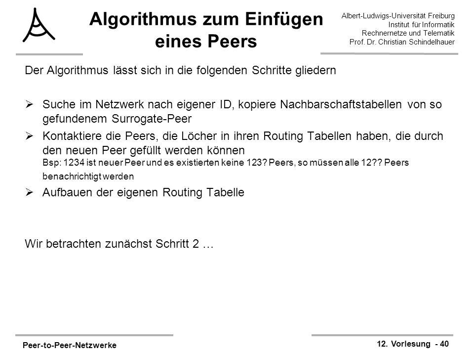 Peer-to-Peer-Netzwerke 12. Vorlesung - 40 Albert-Ludwigs-Universität Freiburg Institut für Informatik Rechnernetze und Telematik Prof. Dr. Christian S
