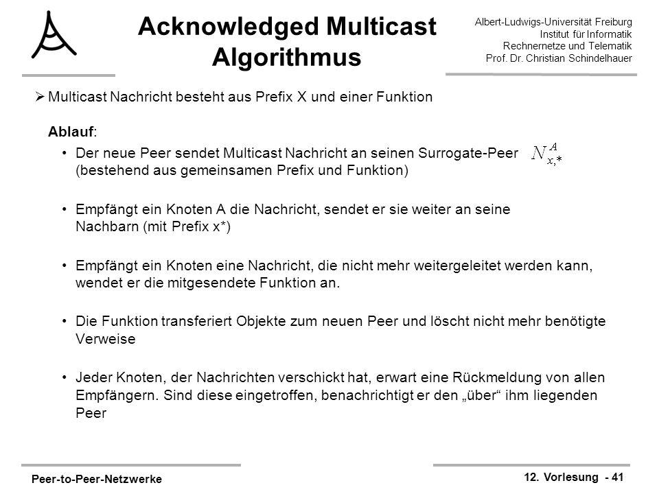 Peer-to-Peer-Netzwerke 12. Vorlesung - 41 Albert-Ludwigs-Universität Freiburg Institut für Informatik Rechnernetze und Telematik Prof. Dr. Christian S