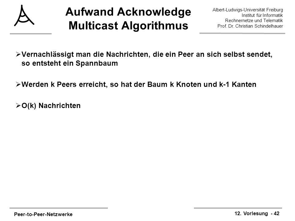 Peer-to-Peer-Netzwerke 12. Vorlesung - 42 Albert-Ludwigs-Universität Freiburg Institut für Informatik Rechnernetze und Telematik Prof. Dr. Christian S