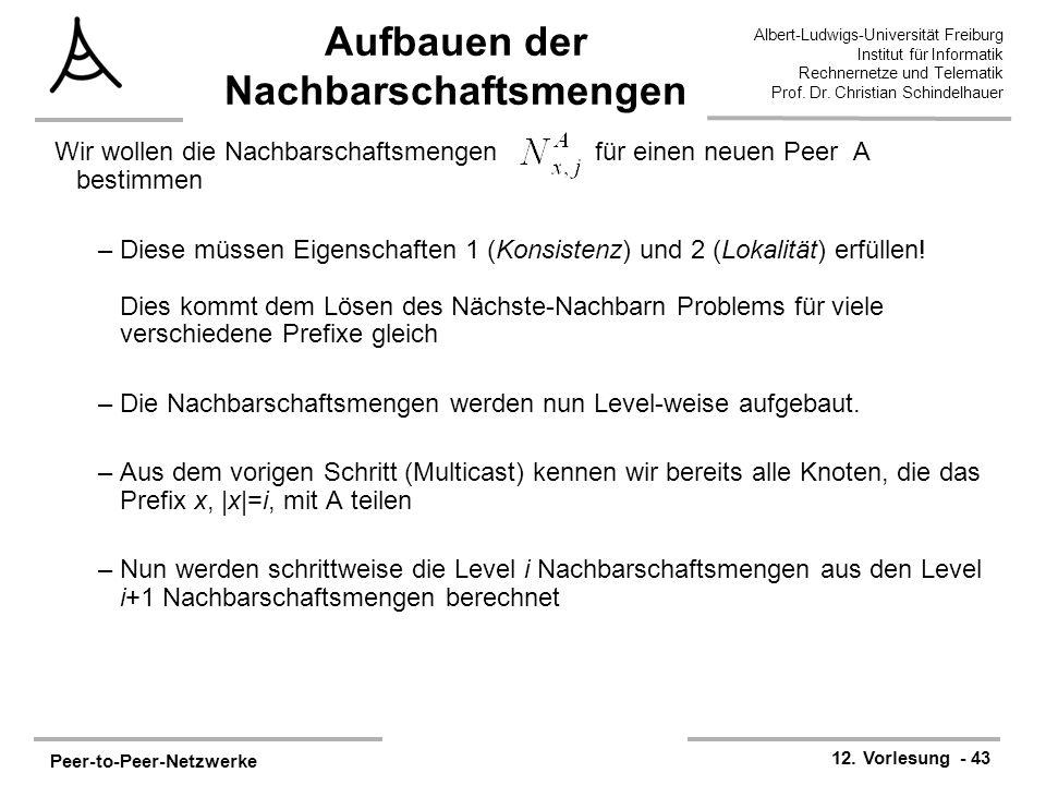 Peer-to-Peer-Netzwerke 12. Vorlesung - 43 Albert-Ludwigs-Universität Freiburg Institut für Informatik Rechnernetze und Telematik Prof. Dr. Christian S
