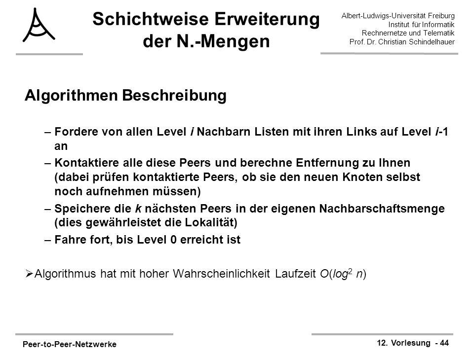 Peer-to-Peer-Netzwerke 12. Vorlesung - 44 Albert-Ludwigs-Universität Freiburg Institut für Informatik Rechnernetze und Telematik Prof. Dr. Christian S