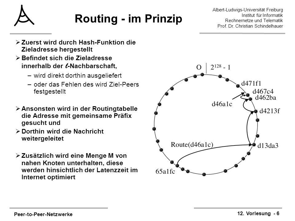 Peer-to-Peer-Netzwerke 12. Vorlesung - 6 Albert-Ludwigs-Universität Freiburg Institut für Informatik Rechnernetze und Telematik Prof. Dr. Christian Sc