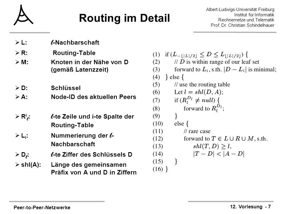 Peer-to-Peer-Netzwerke 12. Vorlesung - 7 Albert-Ludwigs-Universität Freiburg Institut für Informatik Rechnernetze und Telematik Prof. Dr. Christian Sc