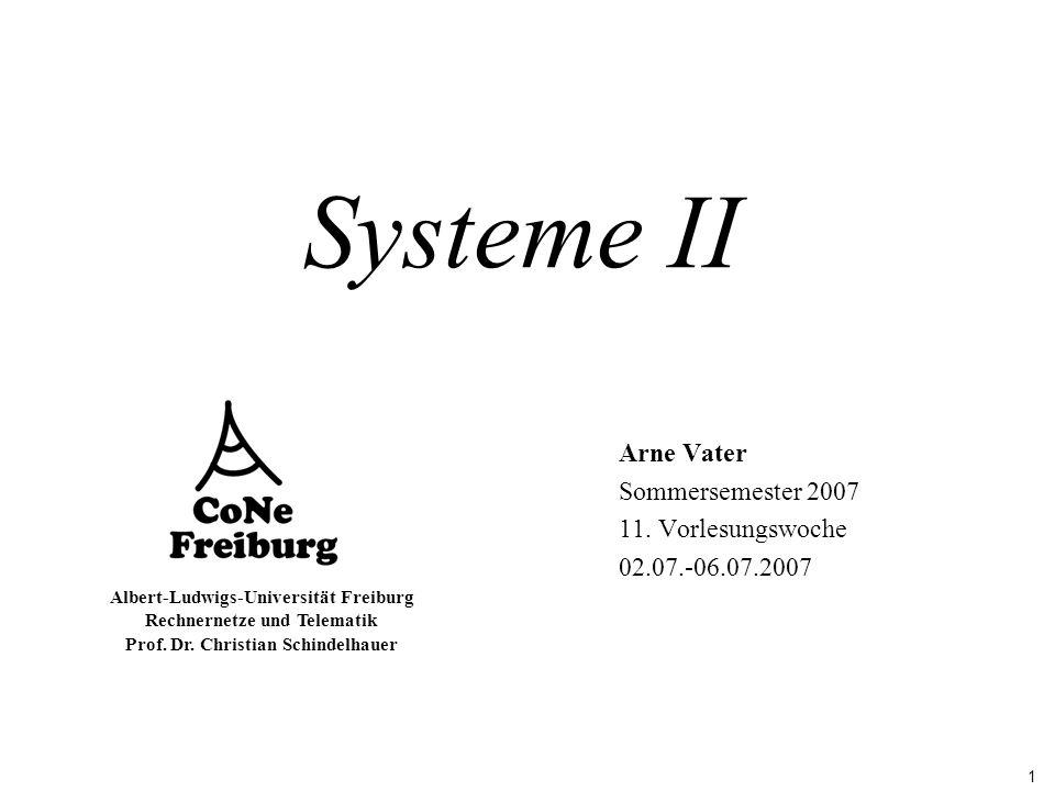 1 Albert-Ludwigs-Universität Freiburg Rechnernetze und Telematik Prof. Dr. Christian Schindelhauer Systeme II Arne Vater Sommersemester 2007 11. Vorle