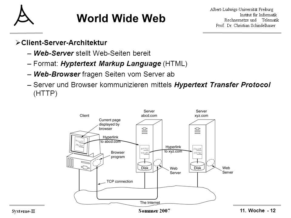 11. Woche - 12 World Wide Web  Client-Server-Architektur –Web-Server stellt Web-Seiten bereit –Format: Hyptertext Markup Language (HTML) –Web-Browser