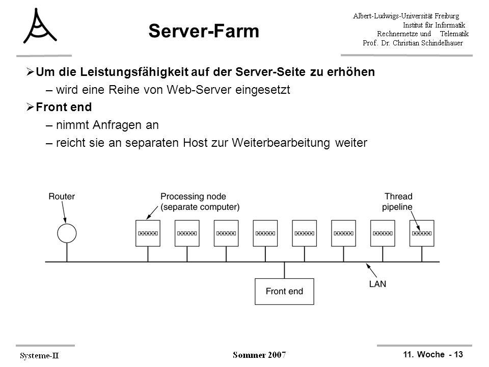11. Woche - 13 Server-Farm  Um die Leistungsfähigkeit auf der Server-Seite zu erhöhen –wird eine Reihe von Web-Server eingesetzt  Front end –nimmt A