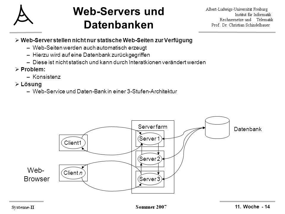 11. Woche - 14 Web-Servers und Datenbanken  Web-Server stellen nicht nur statische Web-Seiten zur Verfügung –Web-Seiten werden auch automatisch erzeu