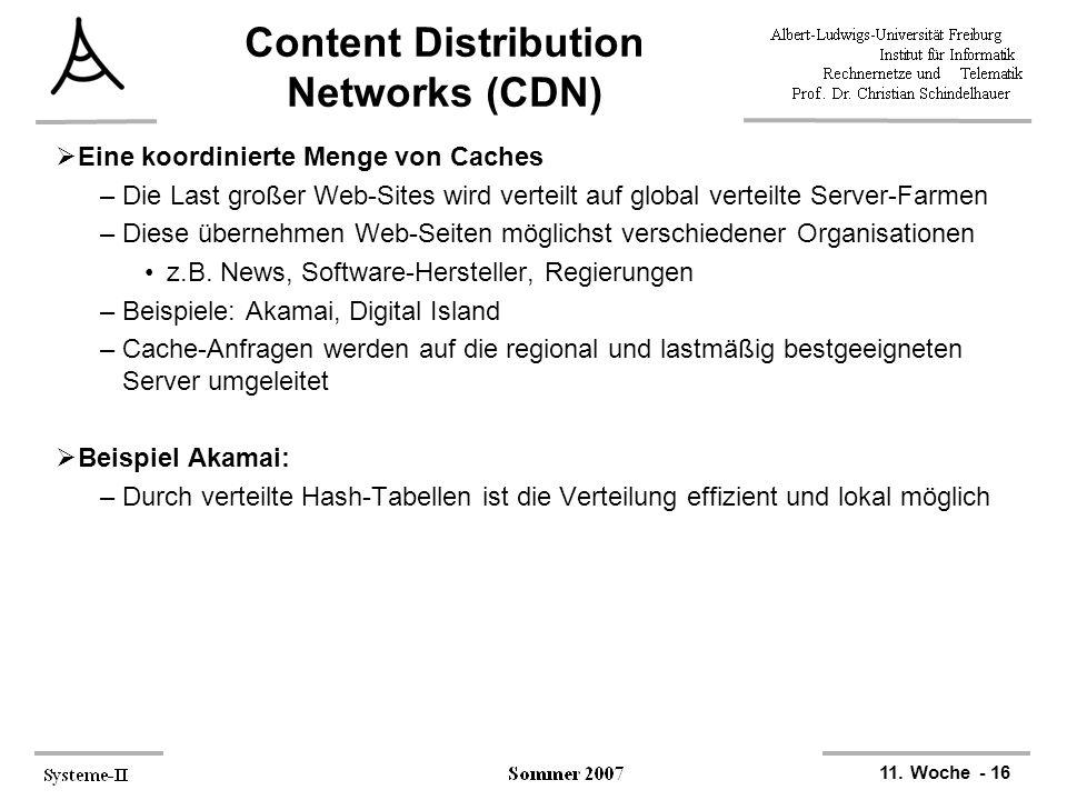 11. Woche - 16 Content Distribution Networks (CDN)  Eine koordinierte Menge von Caches –Die Last großer Web-Sites wird verteilt auf global verteilte