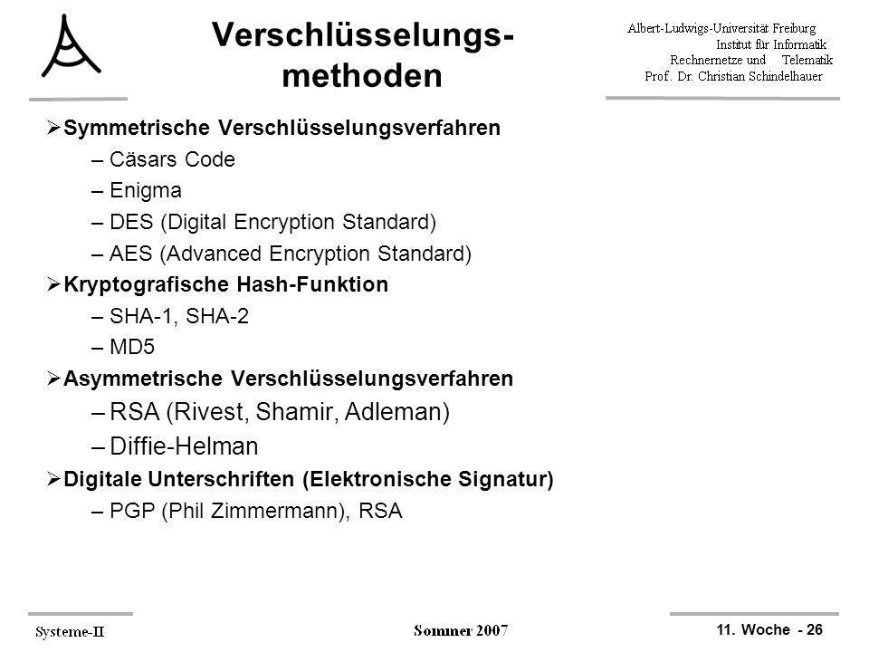 11. Woche - 26 Verschlüsselungs- methoden  Symmetrische Verschlüsselungsverfahren –Cäsars Code –Enigma –DES (Digital Encryption Standard) –AES (Advan