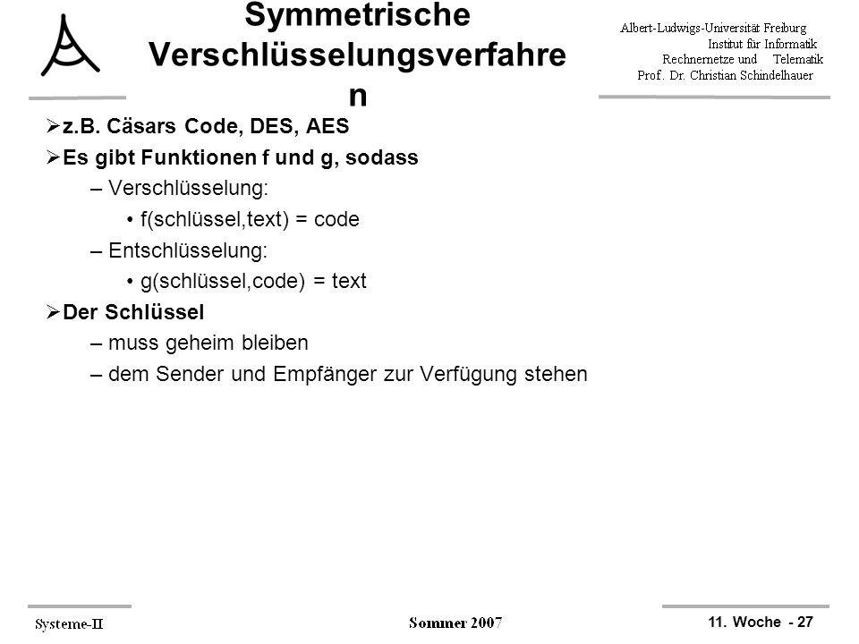 11. Woche - 27 Symmetrische Verschlüsselungsverfahre n  z.B. Cäsars Code, DES, AES  Es gibt Funktionen f und g, sodass –Verschlüsselung: f(schlüssel