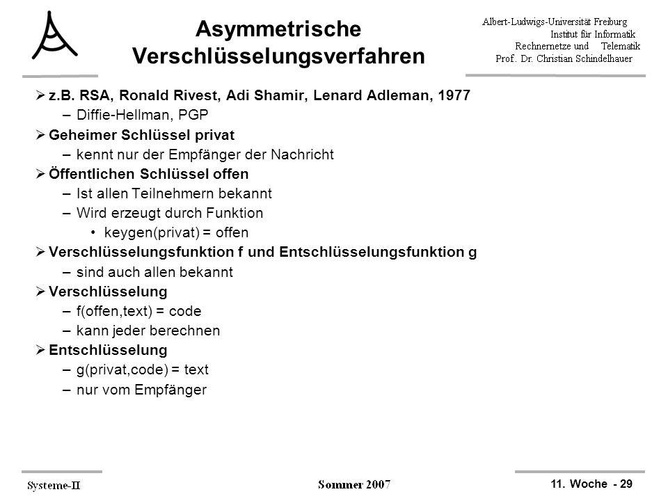 11. Woche - 29 Asymmetrische Verschlüsselungsverfahren  z.B. RSA, Ronald Rivest, Adi Shamir, Lenard Adleman, 1977 –Diffie-Hellman, PGP  Geheimer Sch