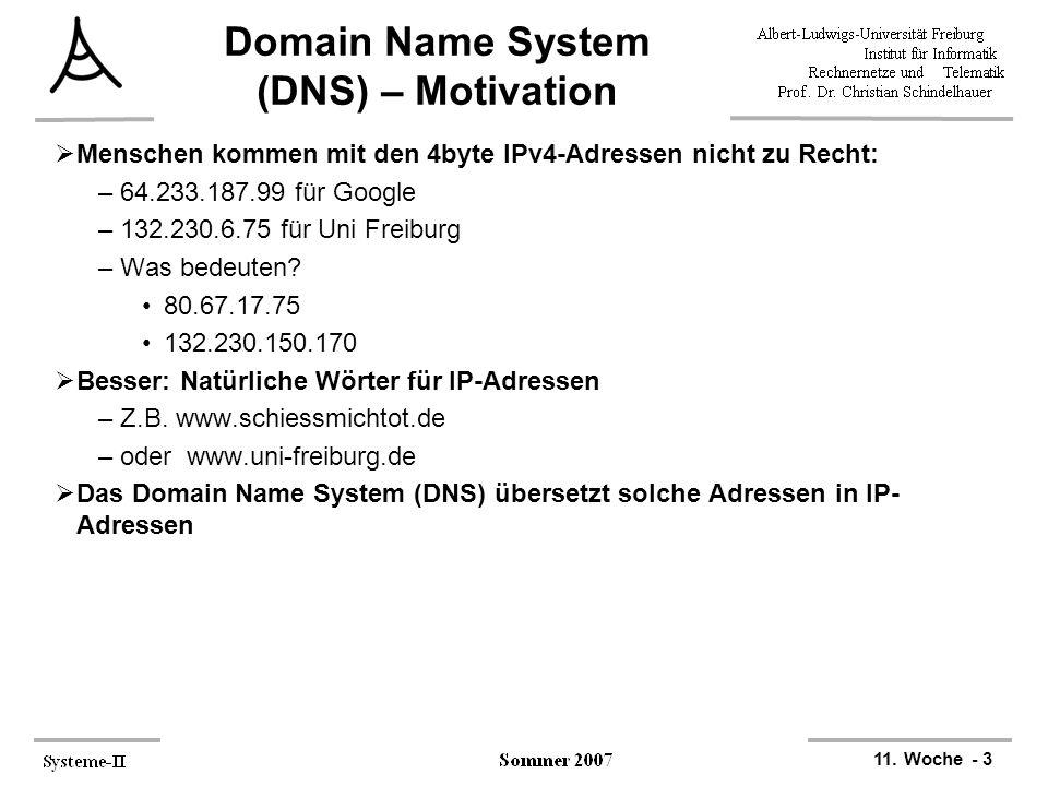 11. Woche - 3 Domain Name System (DNS) – Motivation  Menschen kommen mit den 4byte IPv4-Adressen nicht zu Recht: –64.233.187.99 für Google –132.230.6