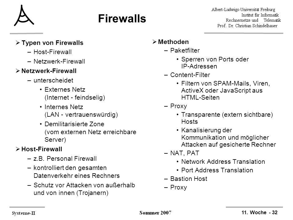 11. Woche - 32 Firewalls  Typen von Firewalls –Host-Firewall –Netzwerk-Firewall  Netzwerk-Firewall –unterscheidet Externes Netz (Internet - feindsel
