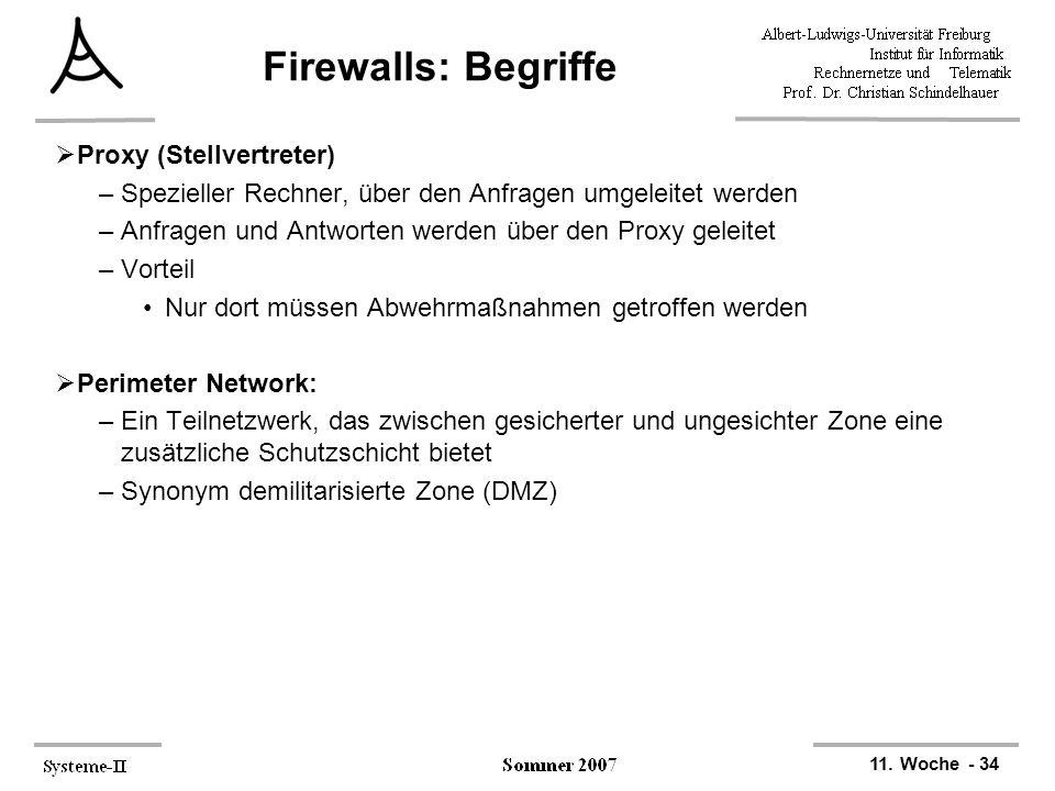 11. Woche - 34 Firewalls: Begriffe  Proxy (Stellvertreter) –Spezieller Rechner, über den Anfragen umgeleitet werden –Anfragen und Antworten werden üb
