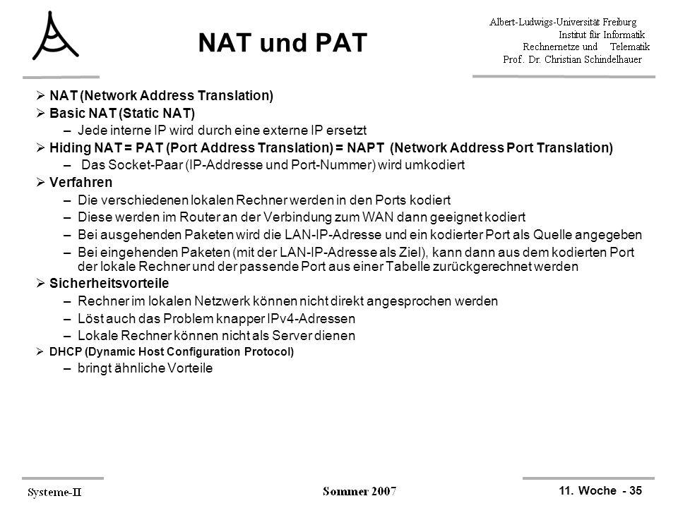 11. Woche - 35 NAT und PAT  NAT (Network Address Translation)  Basic NAT (Static NAT) –Jede interne IP wird durch eine externe IP ersetzt  Hiding N