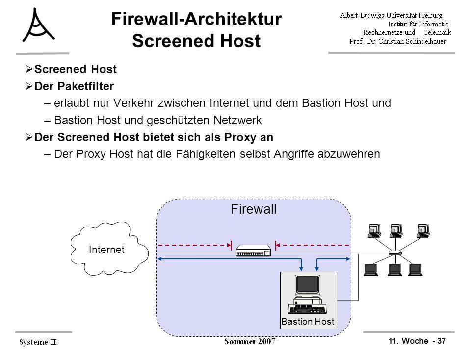 11. Woche - 37 Firewall-Architektur Screened Host  Screened Host  Der Paketfilter –erlaubt nur Verkehr zwischen Internet und dem Bastion Host und –B