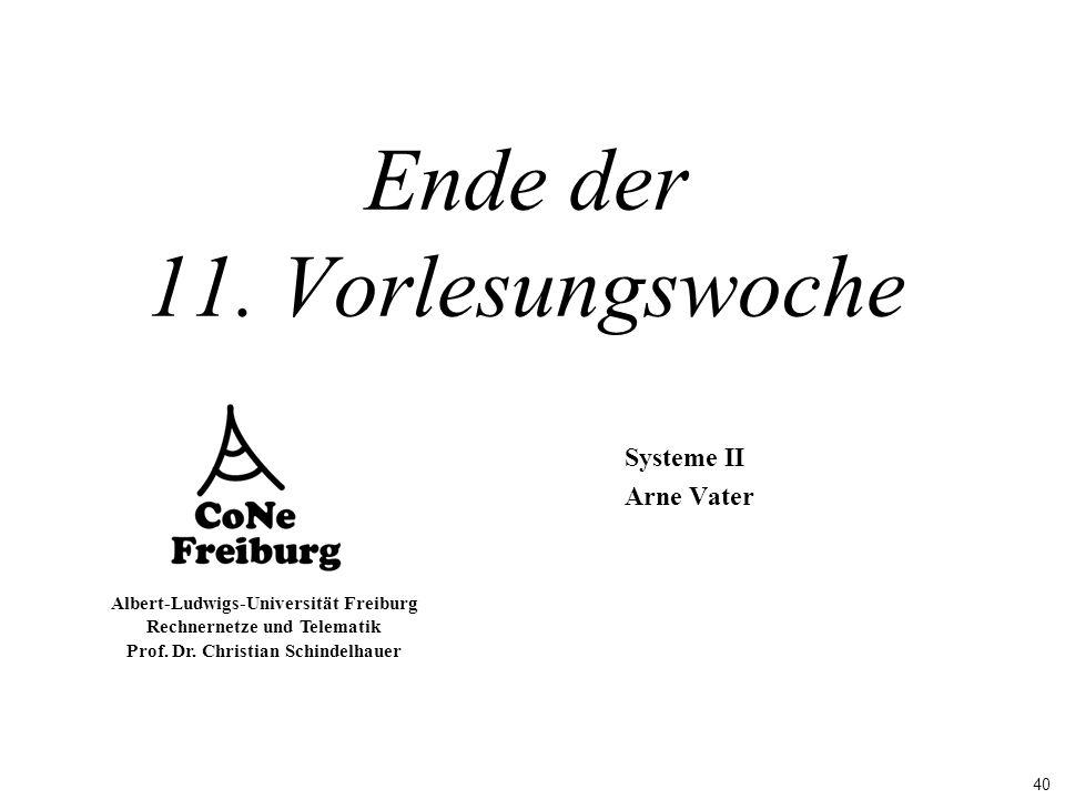 40 Albert-Ludwigs-Universität Freiburg Rechnernetze und Telematik Prof. Dr. Christian Schindelhauer Ende der 11. Vorlesungswoche Systeme II Arne Vater