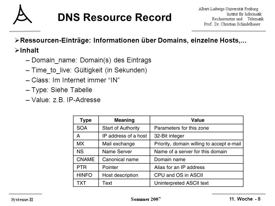 11. Woche - 5 DNS Resource Record  Ressourcen-Einträge: Informationen über Domains, einzelne Hosts,...  Inhalt –Domain_name: Domain(s) des Eintrags