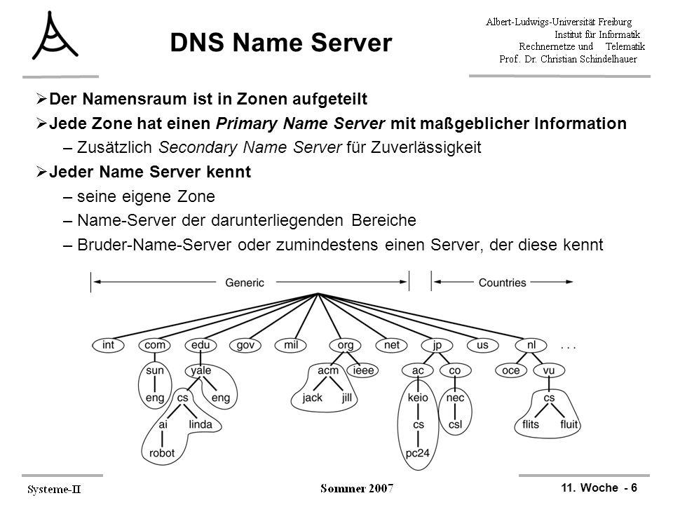 11. Woche - 6 DNS Name Server  Der Namensraum ist in Zonen aufgeteilt  Jede Zone hat einen Primary Name Server mit maßgeblicher Information –Zusätzl